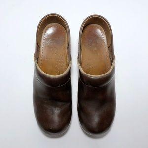 Dansko Professional Brown Leather Clogs Mules